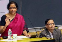 Union Minister for Finance and Corporate Affairs Nirmala Sitharaman (L) speaks on 'Indian Economy: Challenges and Prospects' at Columbia University in New York.