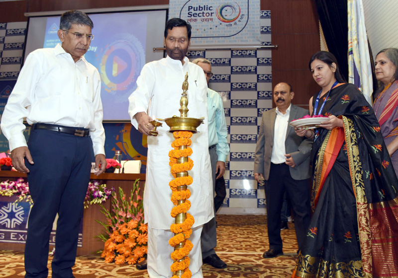 """Union Minister for Consumer Affairs, Food and Public Distribution, Ram Vilas Paswan lighting the lamp to inaugurate the 'Seminar on Video Standards create a Global Stage', on the occasion of the """"World Standards Day"""", in New Delhi on Monday."""