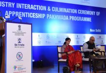 Union Minister for Road Transport & Highways and Micro, Small & Medium Enterprises, Nitin Gadkari addressing at the Industry Interaction and Culmination Ceremony of Apprenticeship Pakhwada-2019, in New Delhi on Wednesday.