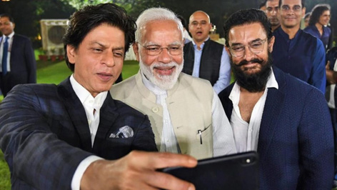 PM Narendra Modi with bollywood actors Shahrukh Khan and Aamir Khan in New Delhi.