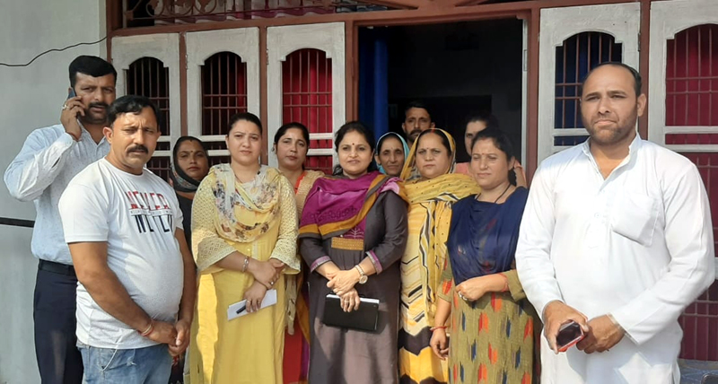 Former Minister and BJP spokesperson Priya Sethi with party men during a meeting in Akhnoor on Wednesday.