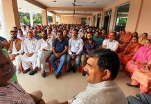 MP Jugal Kishore Sharma and former Minister Sukhnandan chairing a party workers' meet in Jammu.