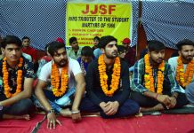 Members of JJSF sitting on fast at Shaheedi Sathal outside GGM Science College Jammu on Wednesday. -Excelsior/Rakesh