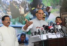 Defence Minister Rajnath Singh interacting with reporters after addressing Indian Navy Commanders conference in New Delhi on Tuesday. (UNI)