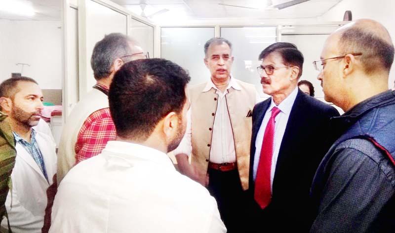 Advisor K Vijay Kumar during visit to JLNM Hospital, Srinagar on Tuesday.
