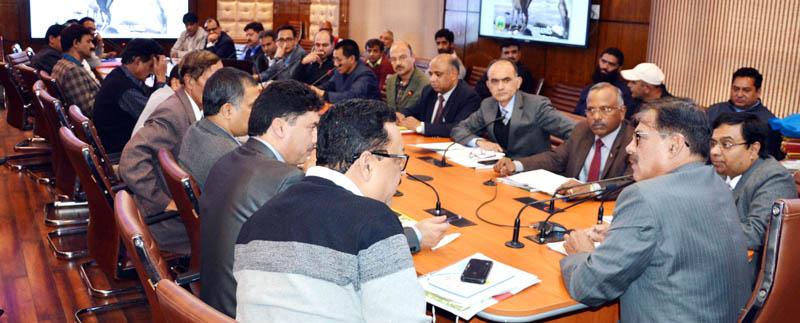 Advisor Vijay Kumar chairing a meeting of State Board for Wildlife in Srinagar on Friday.