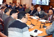 Advisor Vijay Kumar chairing a meeting of State Board for Wildlife in Srinagar on Friday.