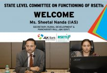 Secretary, Rural Development and Panchayati Raj, Sheetal Nanda during a review meeting on functioning of RSETIs.