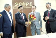 Director General, SCOPE, Atul Sobti welcoming Roberto Saurez Santos, Secretary General IOE Geneva at SCOPE Headquarters.