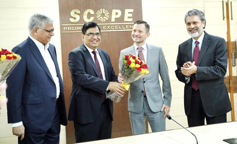 Director General, SCOPE, Atul Sobti welcoming Roberto Saurez Santos, Secretary General IOE Geneva at SCOPE Headquarters.