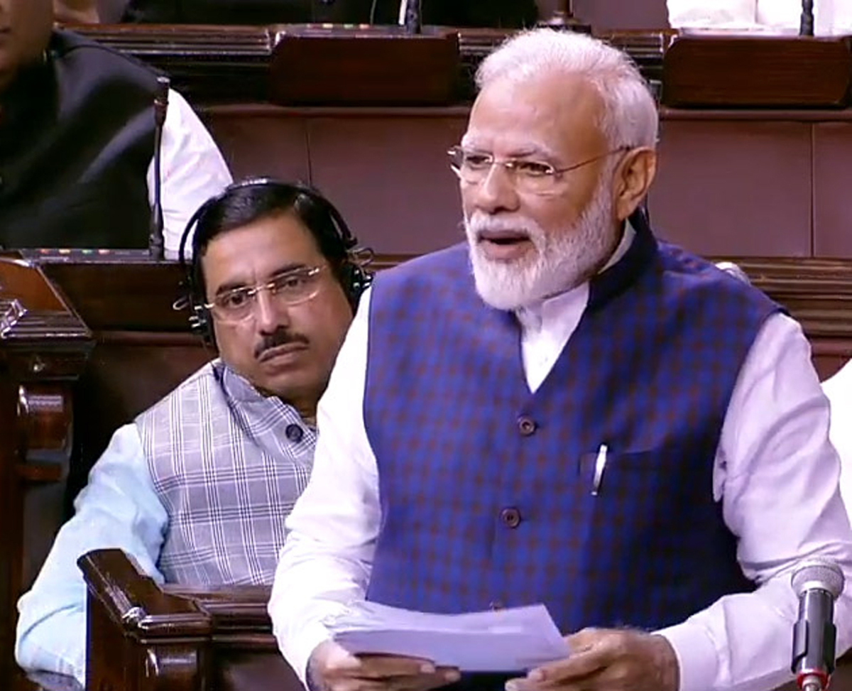 Prime Minister Narendra Modi speaking in Rajya Sabha on Monday.