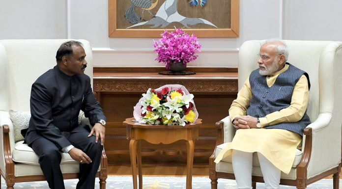 Lieutenant Governor Girish Chandra Murmu in a meeting with Prime Minister Narendra Modi in new Delhi on Thursday.