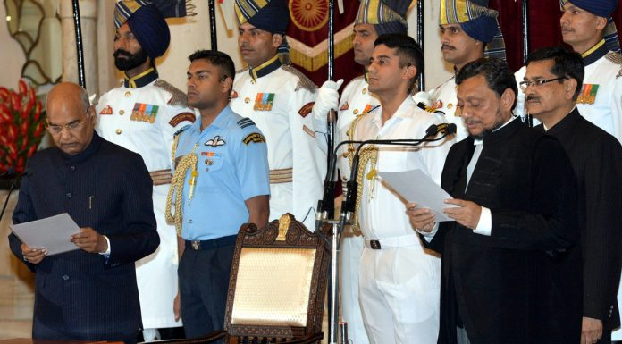 President Ram Nath Kovind administering the oath of office to Justice Sharad Arvind Bobde as the Chief Justice of India at Rashtrapati Bhavan in New Delhi on Monday.