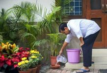 Delhi Chief Minister Arvind Kejriwal inspects his home for stagnant water to prevent the spread of mosquito-borne diseases during '10 Hafte, 10 Baje, 10 Minute' campaign against dengue, in New Delhi on Sunday.
