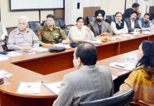 Div Com Jammu Sanjeev Verma chairing a meeting on Monday.