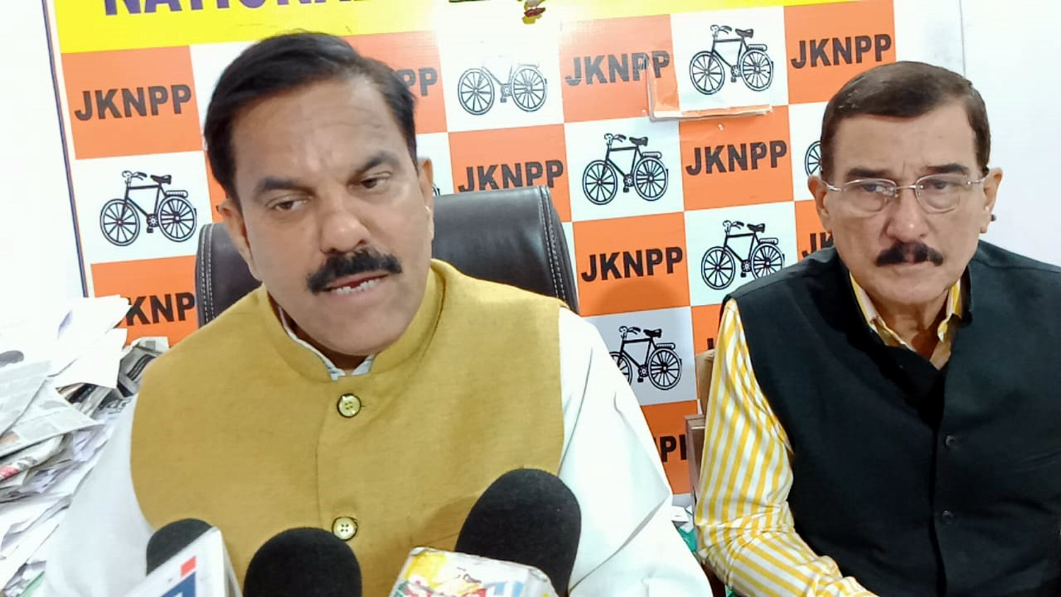 Harsh Dev Singh addressing a press conference at Jammu on Thursday.