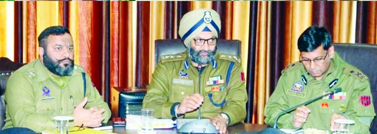 IGP Jammu Zone Mukesh Singh chairing a meeting.