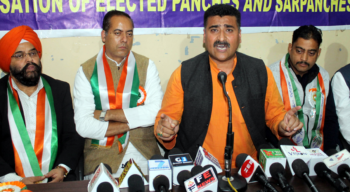AJKPC president, Anil Sharma addressing a press conference at Jammu on Thursday. —Excelsior/Rakesh