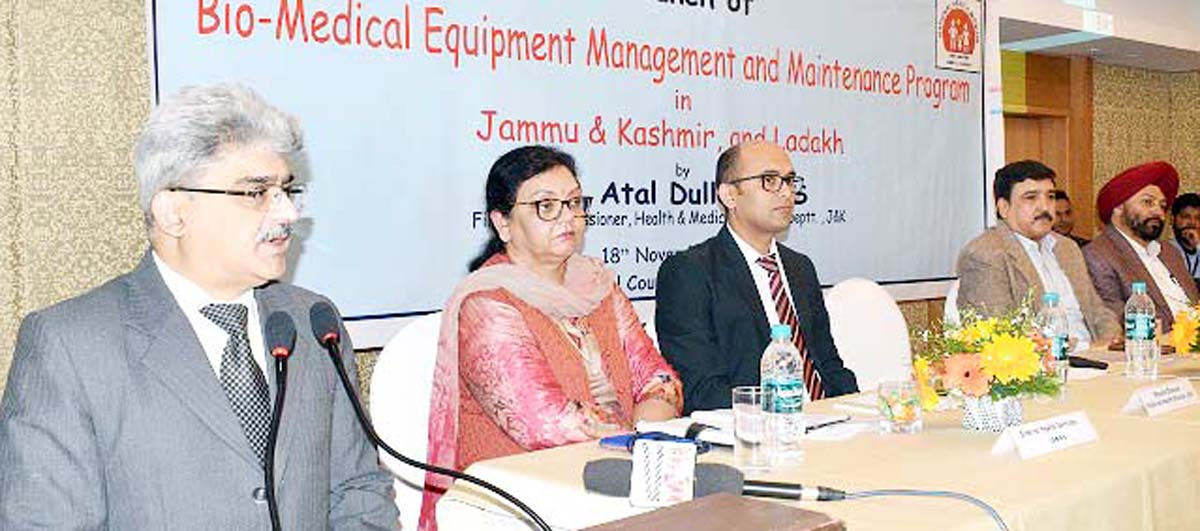 Financial Commissioner Health and Medical Education Atal Dulloo addressing a gathering at Jammu on Monday.