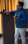 Dr Deepak Abrol delivering lecture on cancer awareness in GMC Kathua.