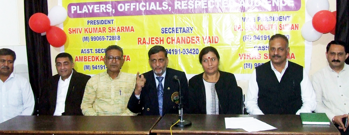 President, Shiv Kumar Sharma, accompanied by other office bearers of Kreeda Bharati J&K, interacting with media persons in Jammu on Thursday.
