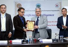 CUJ VC presenting memento to a resource person during inaugural of Faculty Development Programme on Monday.