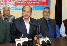 JKRCEA leaders during a press conference at Jammu on Monday.