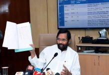 Union Minister for Consumer Affairs, Food and Public Distribution, Ram Vilas Paswan briefing media on the Water Quality and Standards in 20 State Capitals and Delhi, in New Delhi on Saturday.