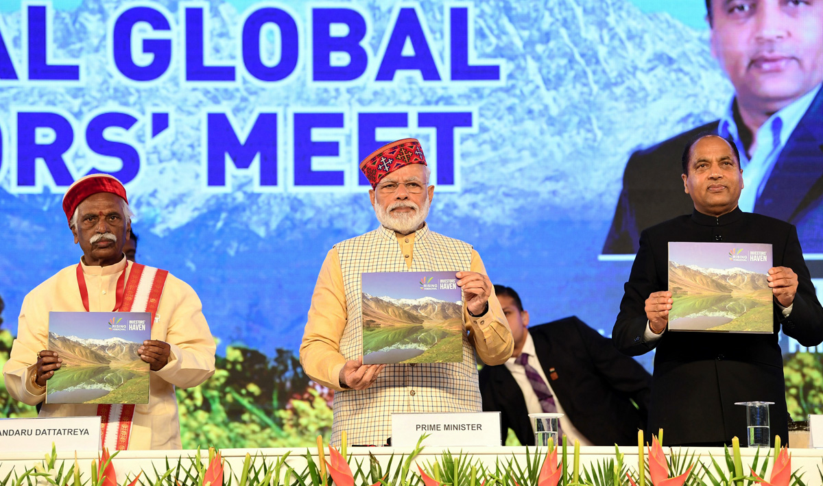 Prime Minister, Narendra Modi releasing the Coffee Table Book on the occasion of Rising Himachal: Global Investors' Meet 2019, in Dharamshala, Himachal Pradesh Thursday.