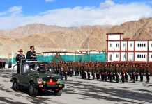 GOC, Trishul Division, Major General Sanjiv Rai inspecting the attestation parade at Regimental Centre Leh.