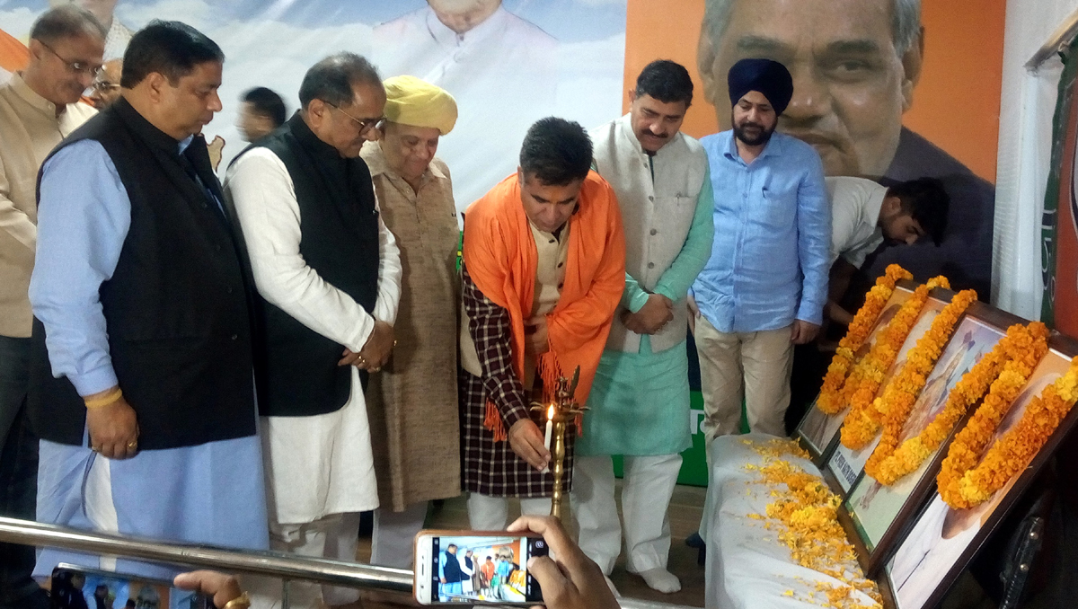 BJP State president Ravinder Raina, MP Jugal Kishore Sharma and other party leaders during a function at party headquarter, Trikuta Nagar, Jammu.