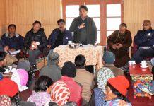 CEC, LAHDC, Leh Gyal P Wangyal addressing a gathering at Kharu.