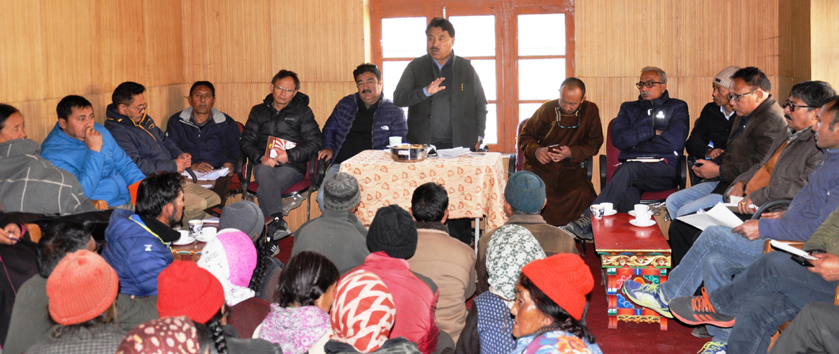 CEC, LAHDC, Leh Gyal P Wangyal addressing a gathering at Kharu.