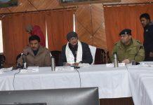 Advisor to LG Ladakh Umang Narula chairing a meeting in Kargil.