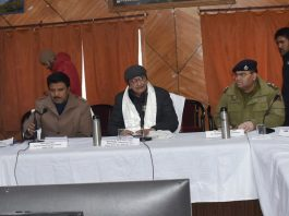 Advisor to LG Ladakh Umang Narula chairing a meeting in Kargil.
