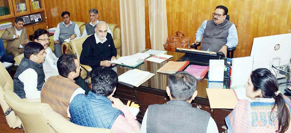 Principal Secretary Industries Navin Choudhary chairing a meeting on Monday.
