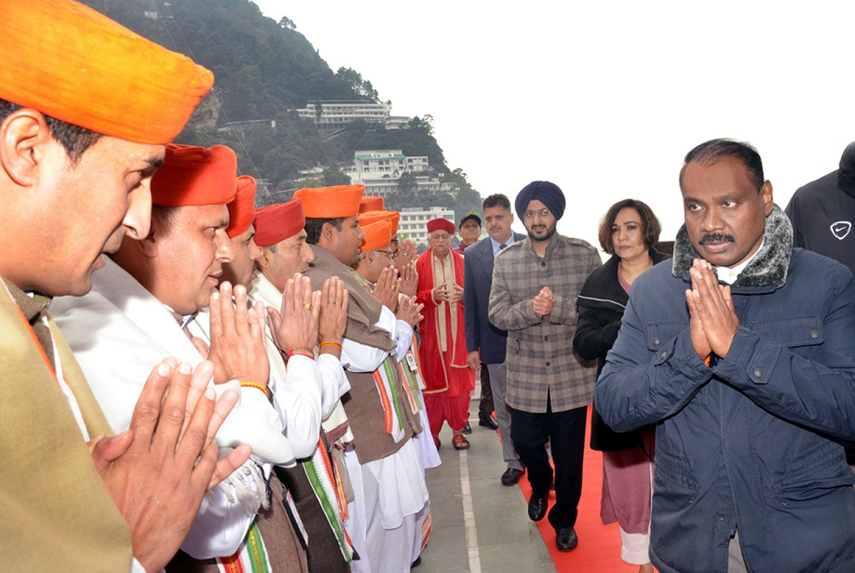 Lieutenant Governor Girish Chandra Murmu during visit to Mata Vaishno Devi Shrine on Tuesday.