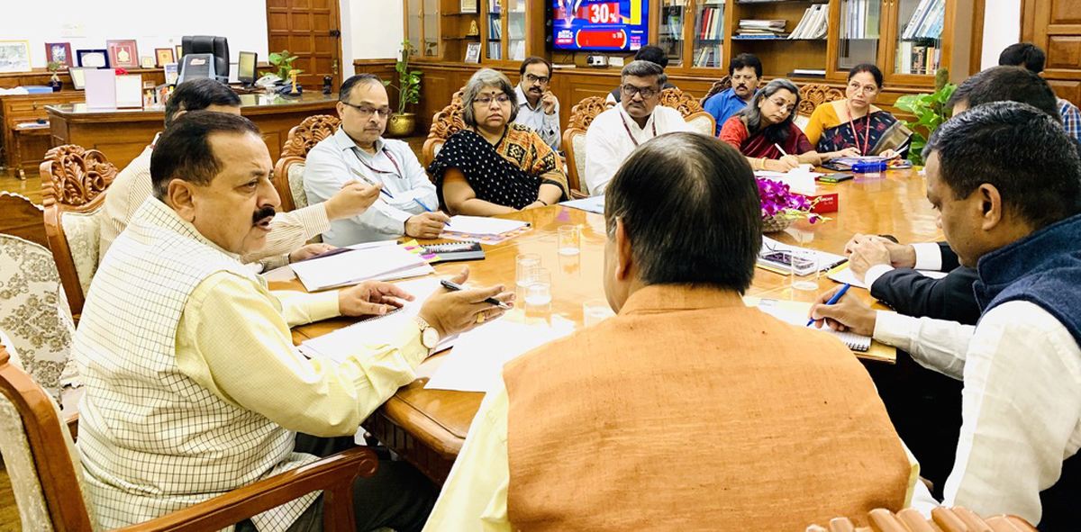 Union Minister Dr Jitendra Singh presiding over a joint meeting of senior officers of DoPT and DARPG in the Union Ministry of Personnel, at North Block, New Delhi on Thursday.