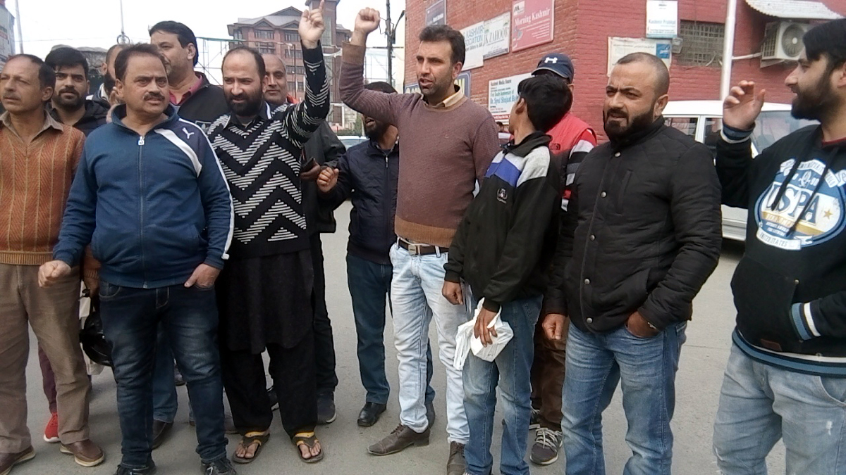 Parents of students protesting in Srinagar on Saturday. —Excelsior/Shakeel