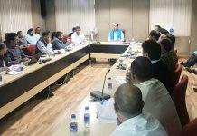 Commissioner Secretary PDD Hirdesh Kumar chairing a meeting on Thursday.