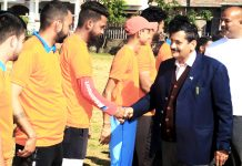 Ex-Tehsildar Gandharb Singh interacting with players after inaugurating Street Cricket Tournament at Udhampur on Sunday.