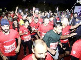 Marathoners participating in IInd Edition of Jammu Half Marathon at Jammu on Sunday. -Excelsior/Rakesh