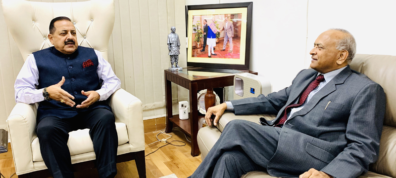 Lieutenant Governor of Ladakh, R K Mathur calling on Union Minister Dr Jitendra Singh at his official residence at New Delhi.