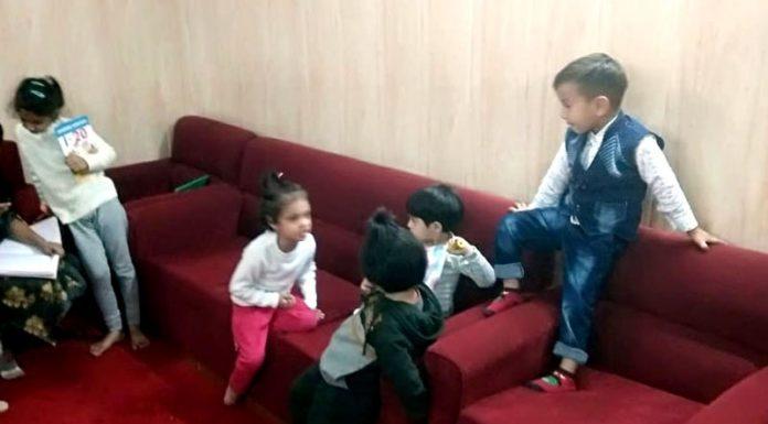 Kids having fun at a Crèche in Civil Secretariat in Jammu.