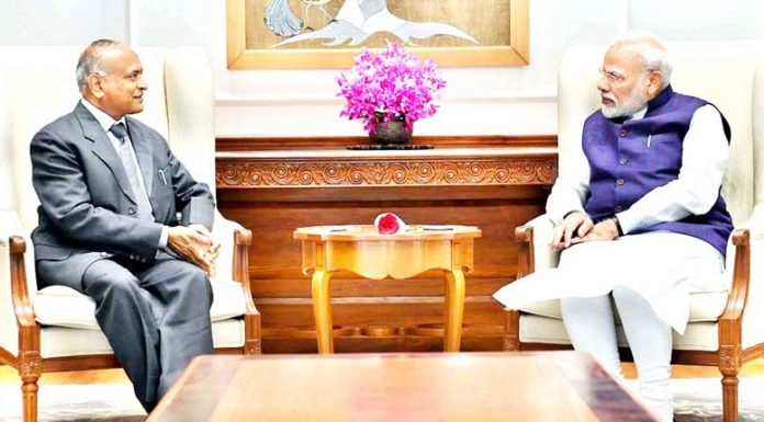 Lieutenant Governor of Ladakh RK Mathur in a meeting with Prime Minister Narendra Modi in New Delhi on Wednesday.