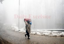 A thick blanket of fog enveloped in the outskirts of Srinagar city on Friday morning. -Excelsior/Shakeel