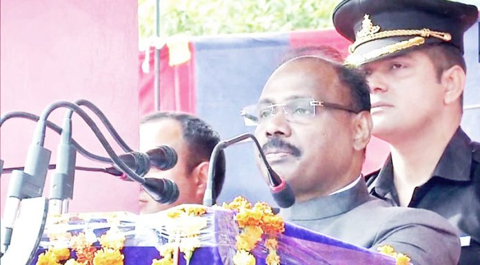 Lt Governor, Girish Chandra Murmu addressing policemen during a function in Reasi on Thursday.