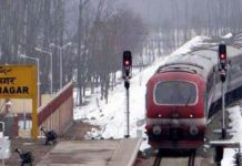 Train services chugged on Srinagar-Banihal track on Tuesday. (UNI)