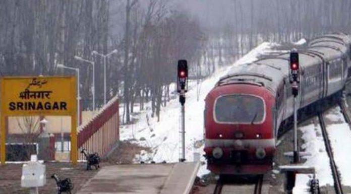 Train services chugged on Srinagar-Banihal track on Tuesday. (UNI)