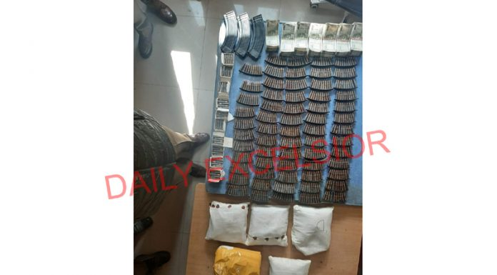 Brown sugar and ammunition seized by police in Baramulla.